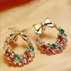 Bow multicolor rhinestone earrings NEW